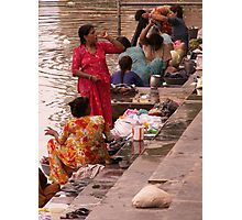 Women at work and socialising, India Photographic Print