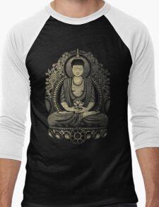 Gautama Buddha Yellow Halftone Textured Men's Baseball ¾ T-Shirt