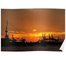 Harbour silhouettes Poster