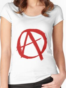 Anarchy Symbol Graffiti Style Women's Fitted Scoop T-Shirt