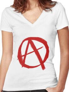Anarchy Symbol Graffiti Style Women's Fitted V-Neck T-Shirt
