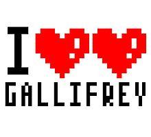 I heart heart Gallifrey 8-bit Photographic Print