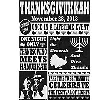 Vintage Celeberate Thanksgivukkah Newspaper Poster Photographic Print