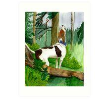 Treeing Walker Coonhound Dog  Art Print