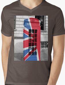 Union Jack Phonebox Mens V-Neck T-Shirt