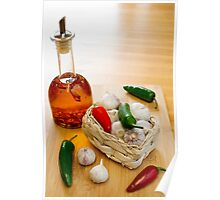 Garlic and Chilli Basket With Oil Poster