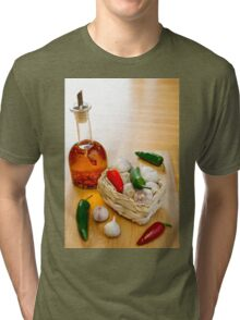 Garlic and Chilli Basket With Oil Tri-blend T-Shirt