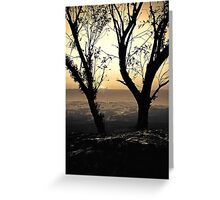 Blue Mountains Sunset  (duotone) Greeting Card