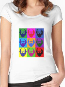 Allen Ginsberg b/w Andy Warhol Women's Fitted Scoop T-Shirt