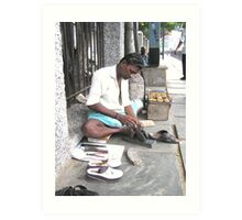 My sandals being resized, Chennai, India Art Print
