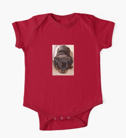 Cute Rottweiler Puppy With Head On Paws One Piece - Short Sleeve