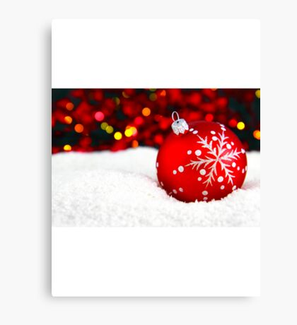 Red Christmas Decoration Ball Canvas Print