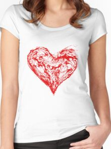 Abstract Red Heart  Women's Fitted Scoop T-Shirt