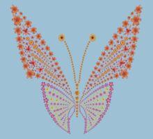 Flowers butterfly silhouette One Piece - Short Sleeve
