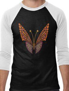 Flowers butterfly silhouette Men's Baseball ¾ T-Shirt