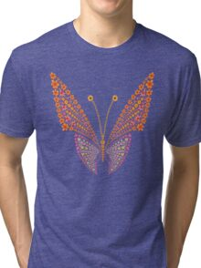 Flowers butterfly silhouette Tri-blend T-Shirt