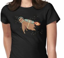 Happy sloth spaceman rocket jet pack Womens Fitted T-Shirt
