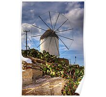 Windmill in a Pricky Pear field Poster
