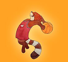Red Panda Basketball by GardenDragon