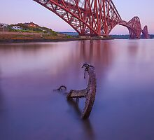Forth Bridge and anchor at dusk by Stuart Pardue