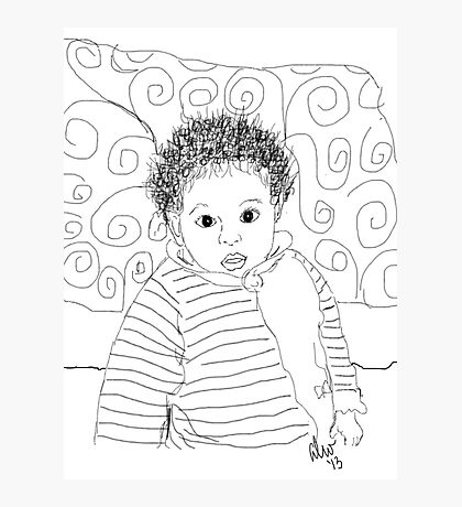 Mommie Can We Go Outside - Digital Sketch Photographic Print