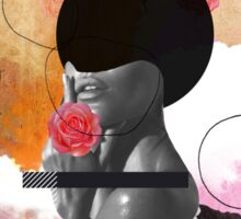 Contemporary fashionistas floral collage Sticker
