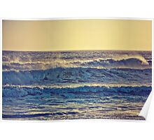Waves in Sunset Poster
