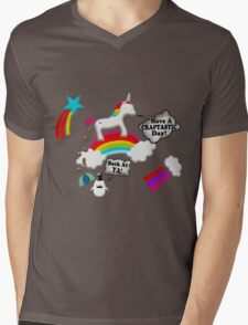 Unicorn And Penguin Craptastic Day Mens V-Neck T-Shirt