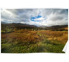 View West from Elterwater Common towards Elterwater and Langdale Pikes Poster