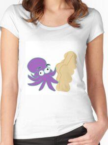 Octopus touching butt Women's Fitted Scoop T-Shirt
