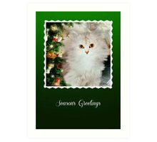 Mistletoe, The Silver Shaded Chinchilla Christmas Card Art Print