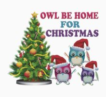 Owl Be Home For Christmas Baby Tee