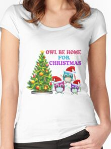 Owl Be Home For Christmas Women's Fitted Scoop T-Shirt