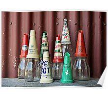 Old oil bottles Poster