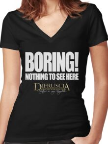 BORING! - NOTHING TO SEE HERE - DI FRUSCIA Women's Fitted V-Neck T-Shirt