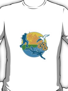 Hiker Scuba Diver Island Tropicbird Flowers Retro T-Shirt