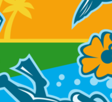 Hiker Scuba Diver Island Tropicbird Flowers Retro Sticker