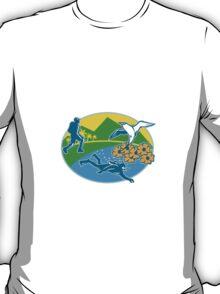 Scuba Diver Hiker Island Tropicbird Flowers Retro T-Shirt