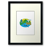 Scuba Diver Hiker Island Tropicbird Flowers Retro Framed Print