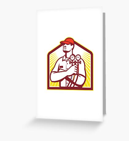 Heating and Cooling Refrigeration Technician Retro Greeting Card