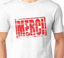 Merci red rubber stamp effect Unisex T-Shirt