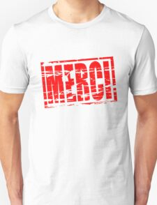 Merci red rubber stamp effect T-Shirt