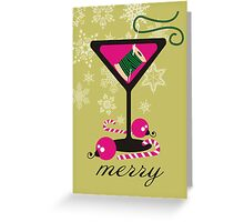 mod martini needle thread sewing seamstress Christmas card Greeting Card