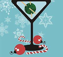 mod martini knitting needles yarn Christmas card by BigMRanch