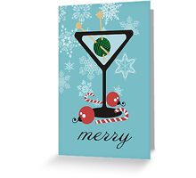 mod martini knitting needles yarn Christmas card Greeting Card