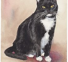 Black & white cat watercolor by Mike Theuer