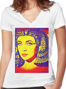 Elizabeth Taylor in Cleopatra Women's Fitted V-Neck T-Shirt