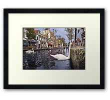 ..old Delft in Holland...4..from the Swan's point of view Framed Print