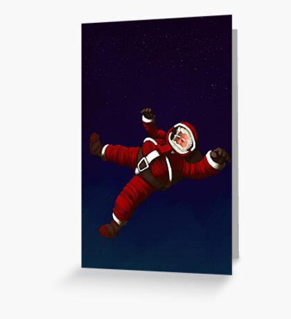 Christmas Santa Space Man Astronaut in Orbit Greeting Card