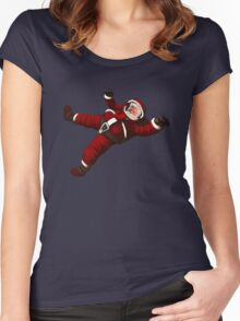 Christmas Santa Space Man Astronaut in Orbit Women's Fitted Scoop T-Shirt